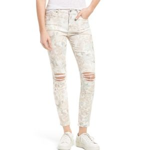 7 For All Mankind Ankle Skinny Jeans Floral Ripped